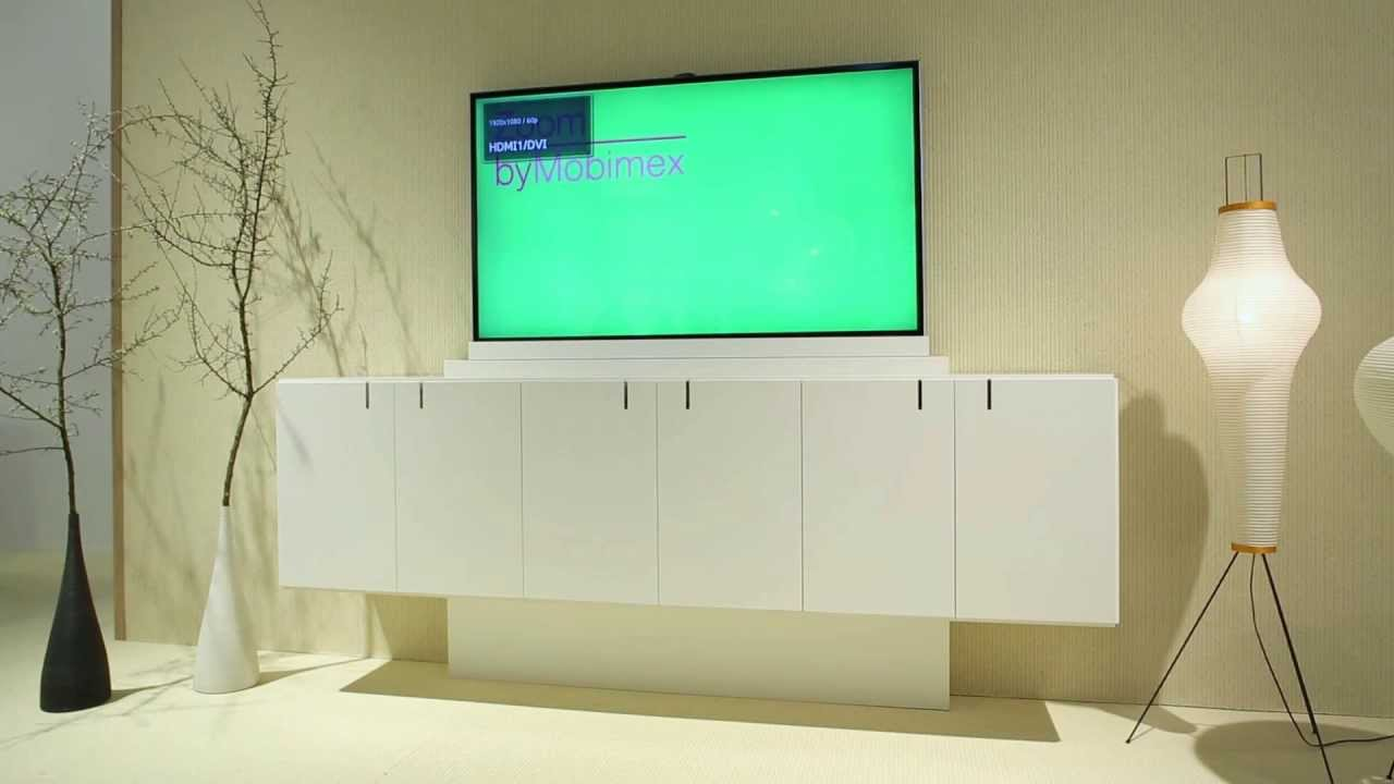 next sideboard mit hubtechnik65 von zoom by mobimex youtube. Black Bedroom Furniture Sets. Home Design Ideas