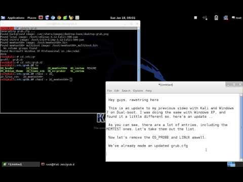 Kali Linux: Dual-boot With Windows XP (edit GRUB)