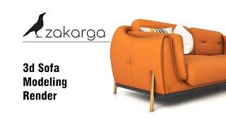 3d Sofa Modeling I Rendering / www.zakarga.com