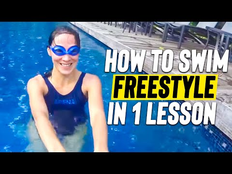 Beginner learn to swim Freestyle & glide  in 1 LESSON * Adult learn to slide & Relax for Front Crawl