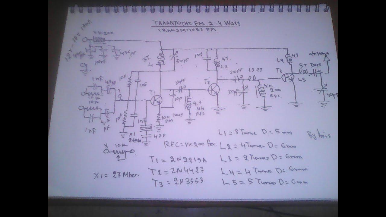 Transmitter Fm 2 Watt Plus 2n2219 2n4427 2n3553 By Aris Madakis 2kms Range Diagram