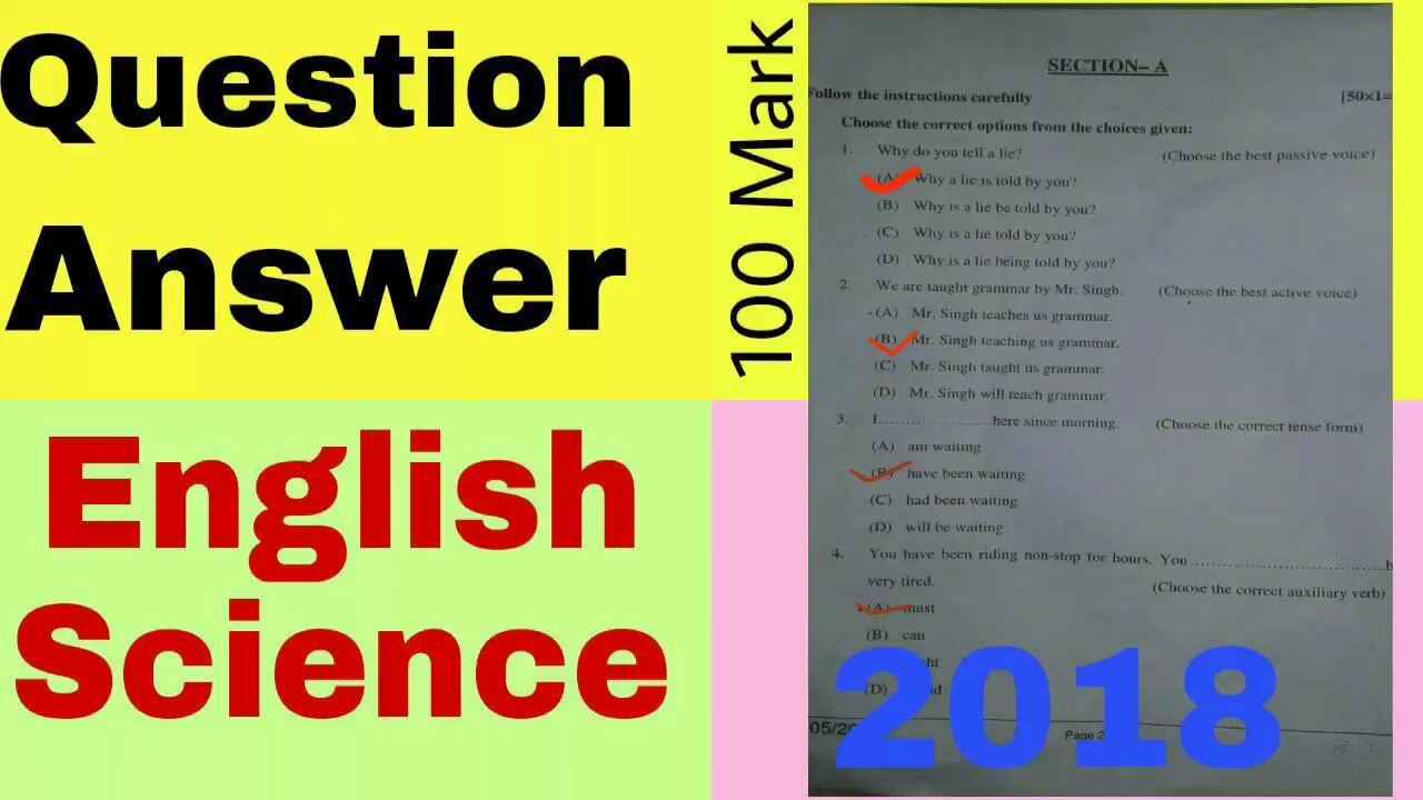 English 100 Marks Objective Question Answer 2018