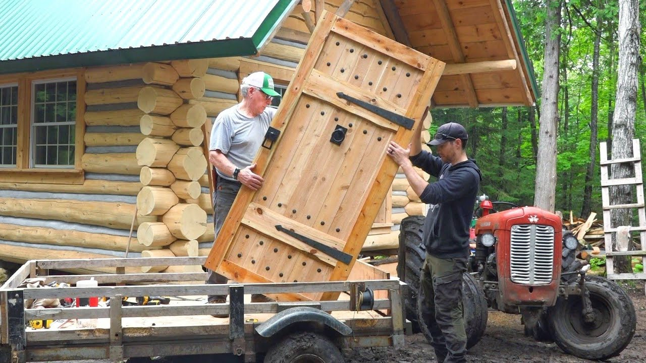 We Built a Medieval Door 5 Inches Thick! / Outsider Log Cabin