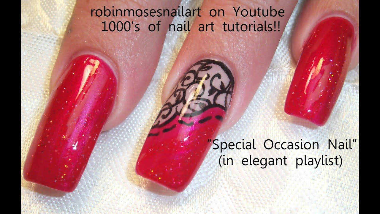 Red and black lace nails design long nail art tutorial youtube prinsesfo Choice Image