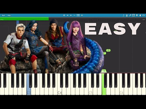 How to play Chillin' Like A Villain - EASY Piano Tutorial - Descendants 2 OST