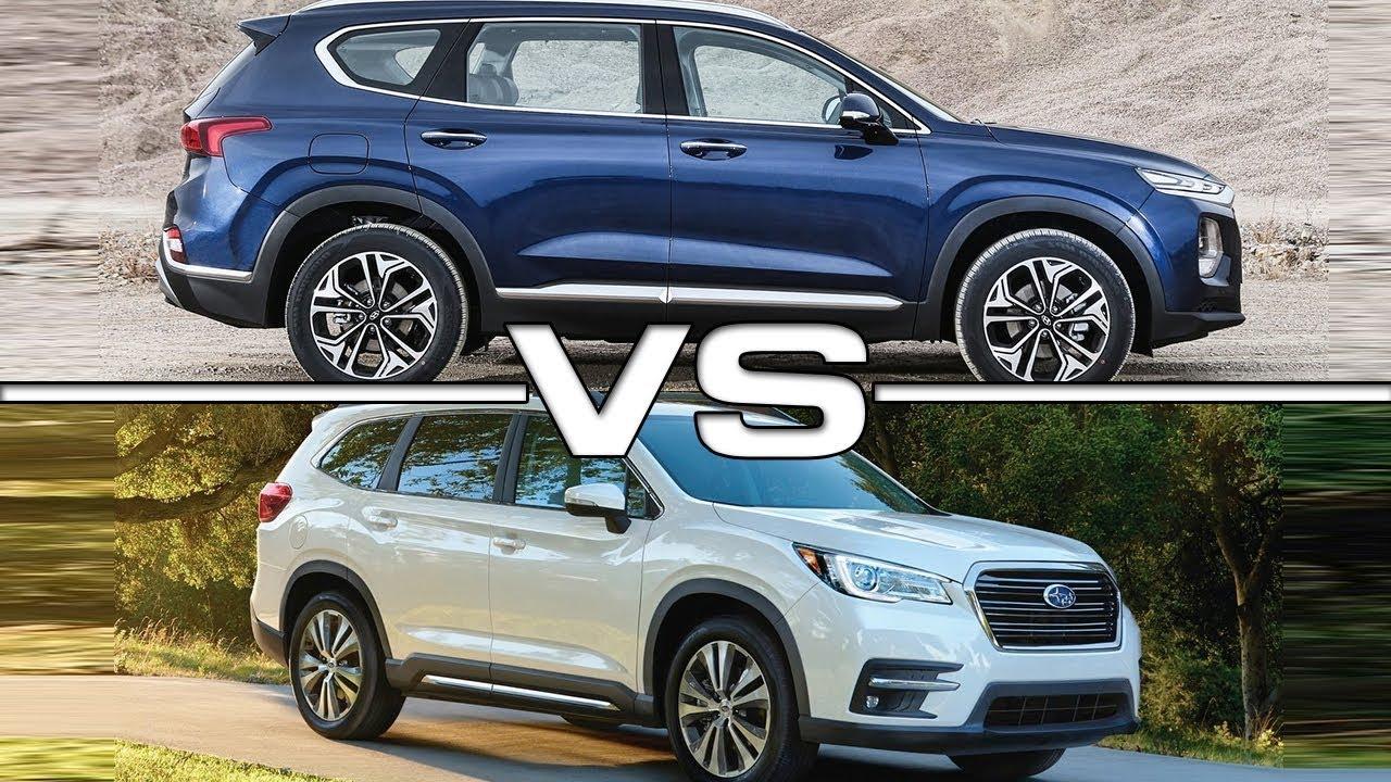 Subaru Santa Fe >> 2019 Hyundai Santa Fe Vs 2019 Subaru Ascent Youtube