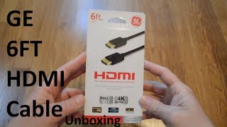 Unboxing GE 6ft Gold Plated Premium HDMI Cable
