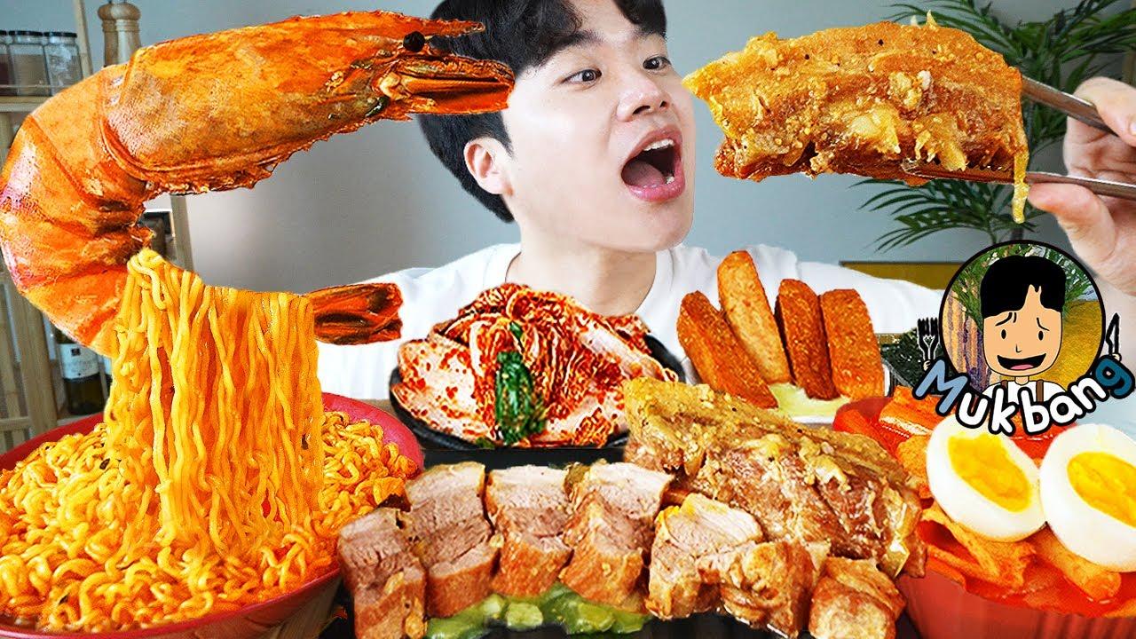 ASMR MUKBANG 열라면 & 떡볶이 & 치즈 통스팸 & 스테이크 FIRE Noodle & STEAK & CHEESE SPAM EATING SOUND!
