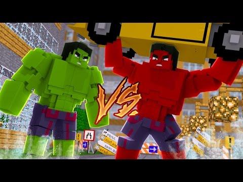 Minecraft: HERÓIS PVP - HULK vs HULK VERMELHO!