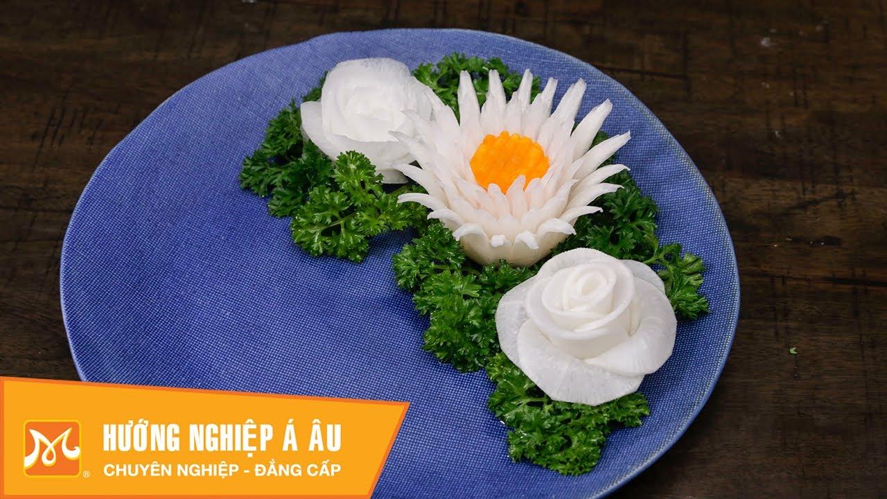 Cách cắt tỉa hoa từ củ cải trắng: hoa cúc, hoa hồng – Học cắt tỉa rau củ