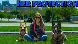 GERMAN SHEPHERDS PROTECT MY WIFE!  Loose Dogs Run at Us.