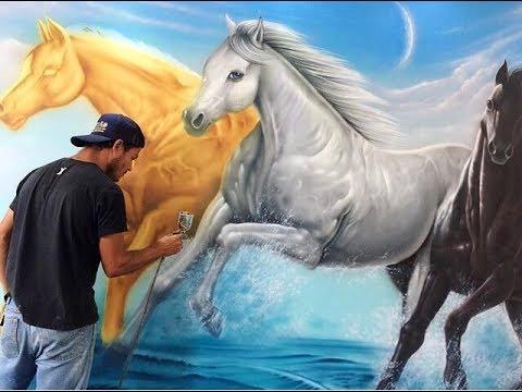 Airbrushing Painting Horses Wall Mural Aerografia Em Parede