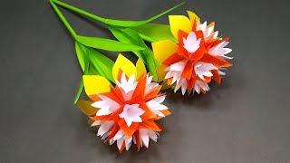 Handcraft: Paper Stick Flower Making   DIY Beautiful Handcraft with Paper   Jarine's Crafty Creation