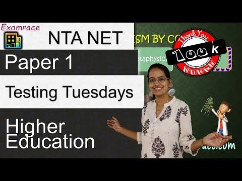 Higher Education - NET Paper 1 (Testing Tuesdays)