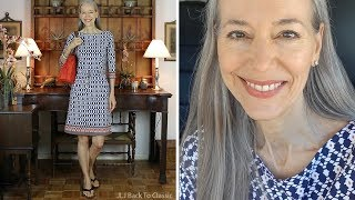 OOTD/Over 50: Favorite Navy & White Dress Finds; My Outfit; No Makeup Makeup Look : Classic Fashion