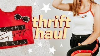 TRY-ON THRIFT HAUL (champion, levis, nike, tommy hilfiger)