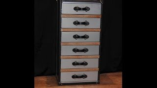 Industrial Leather Chrome Chest Drawers Tall Boy