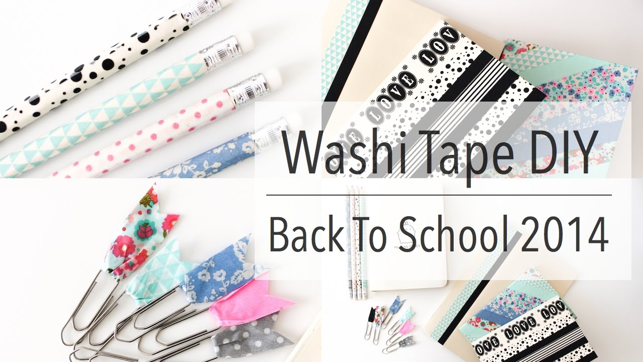 washi tape diy back to school 2014 youtube. Black Bedroom Furniture Sets. Home Design Ideas