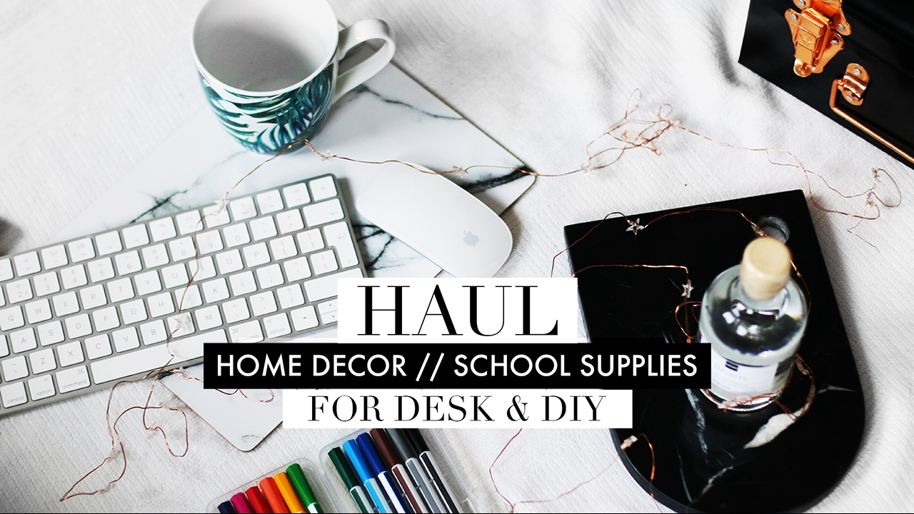 minimal / marble home decor + stationery haul 2017 - youtube