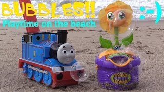Thomas the Tank Engine and a Dancing Flower Bubble Machines. Fun Bubble Playtime on the Beach!