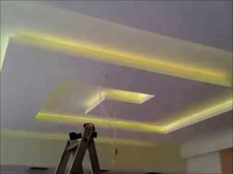 Placoplatre ba13 faux plafond avec led youtube for Fond plafond salon