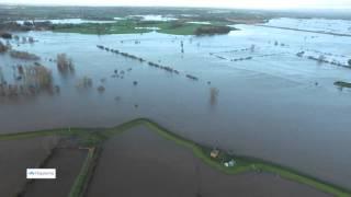 Aerial footage of Tesco East Carlisle Floods