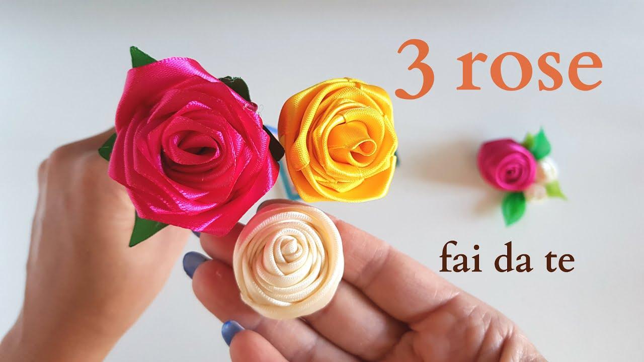 Rose Fai Da Te 3 bellissime rose di raso fai da te - tutorial rose nastro di raso fatte a  mano