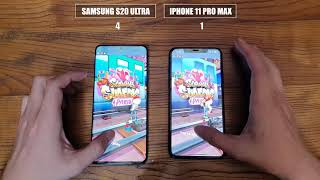 Samsung S20 Ultra vs iPhone 11 Pro Max | test video dis play, speedtest Comparison