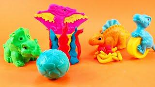 풍경 만들기와 함께 플레이 도우로 그리고 공룡