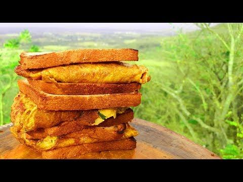bread omelette recipe by three boys   outdoor cooking how to make tasty   breakfast boysfunfood