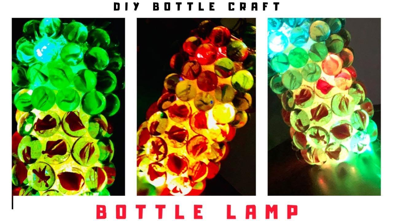 How to make Bottle Lamp | Simple bottle art malayalam | DIY room decor | bottle craft using marbles