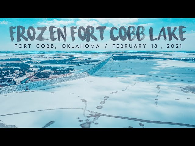 FROZEN Fort Cobb Lake! / Drone Footage / February 18, 2021