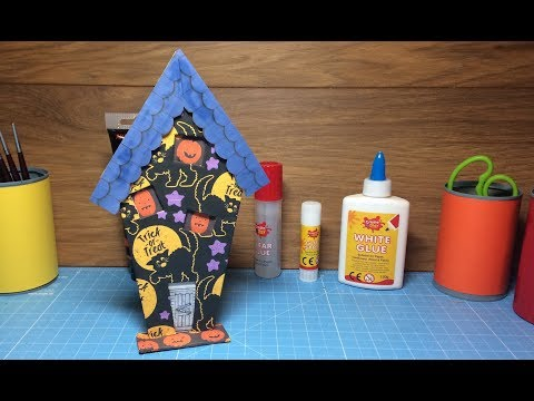 How To Make a Card Spooky Halloween Haunted House Decoration  Craft