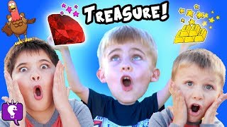 GOLD Treasure Search with Annoying Turkey by HobbyKidsTV