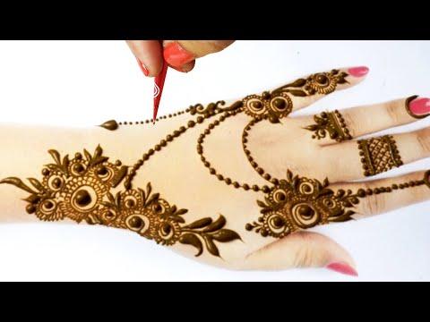 Stylish Eid Mehndi Design 2020 from Dots & flowers - ज्वेलरी मेहँदी डिज़ाइन लगाना सीखे- Easy Mehandi
