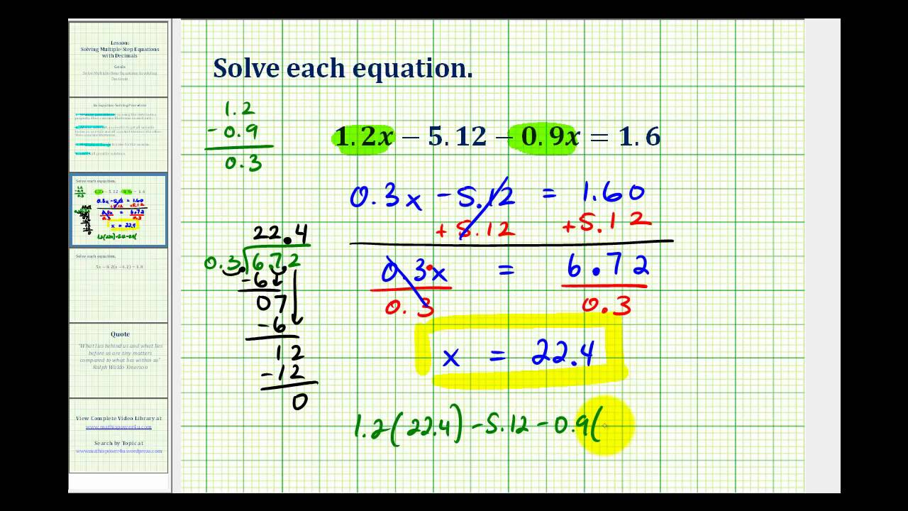 math worksheet : solving multi step equations  decimals with videos  activities  : Solving Equations With Decimals Worksheet