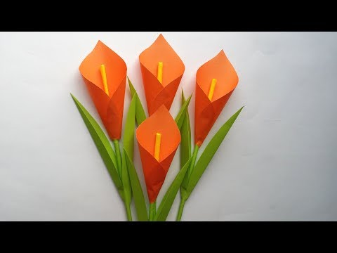 DIY: How to Make Calla Lily Paper Flower !!! Very Easy Origami Flower for Beginners !!!
