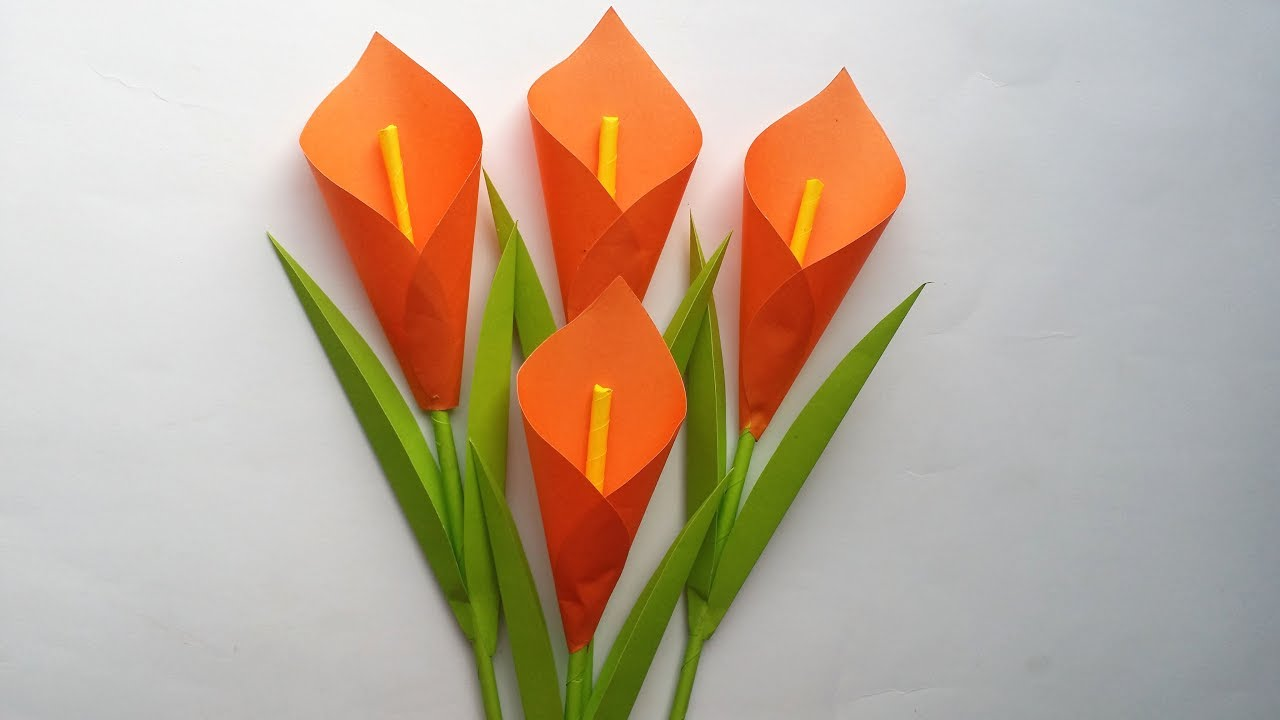 diy how to make calla lily paper flower very easy