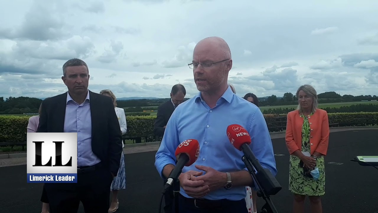 Minister Stephen Donnelly doorstep at Limerick vaccine centre