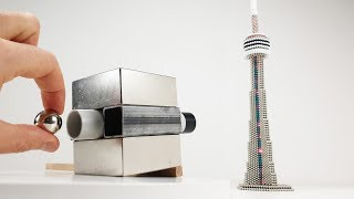 Magnetic Cannon VS CN Tower out  of Magnetic Balls | Magnetic Games
