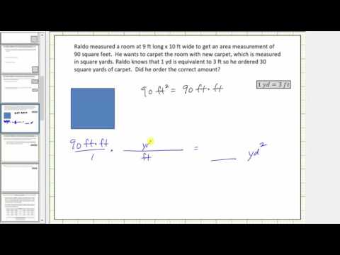 Convert Square Feet to Square Yards (Unit Fractions) - YouTube