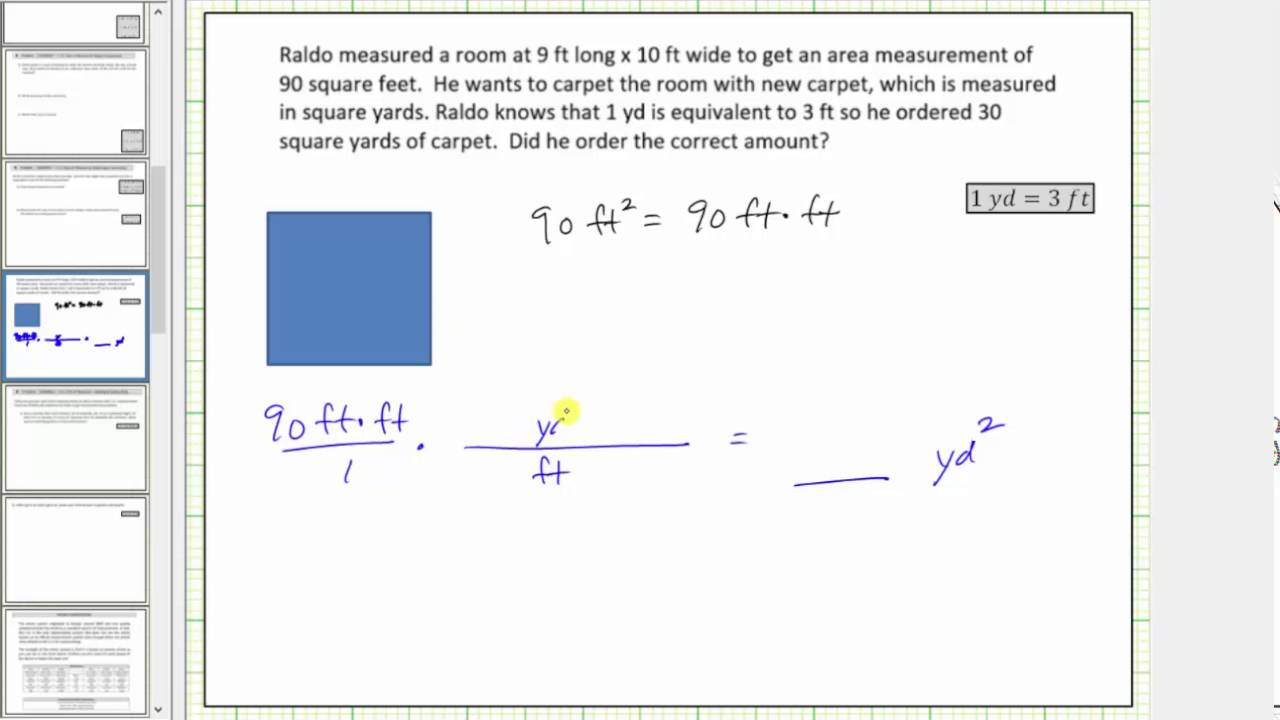 Convert Square Feet To Square Yards Unit Fractions Youtube