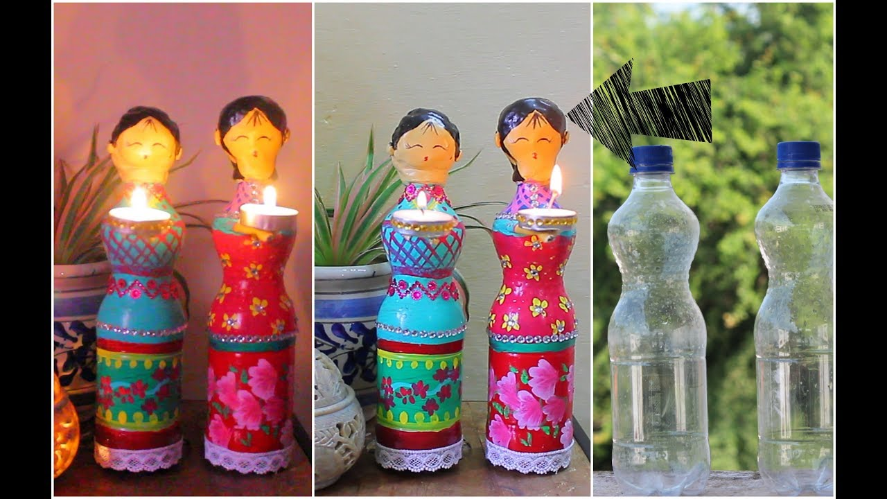 Dolls diya using plastic bottles for diwali decorations for Decorative items for home with waste material