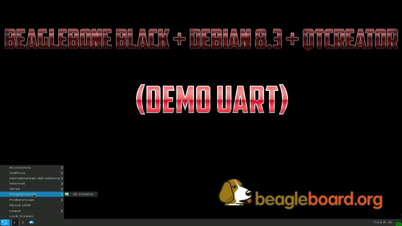 BeagleBone Black + Debian 8 3 + QtCreator (Demo UART)