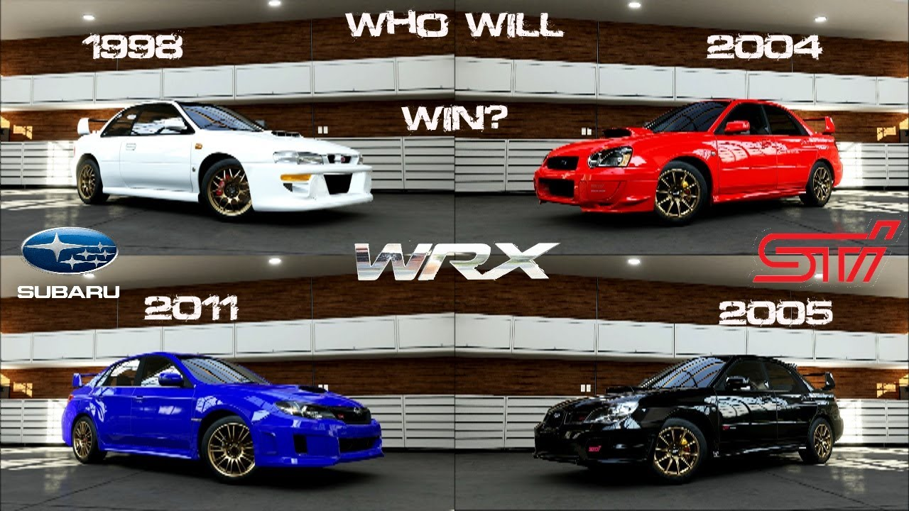 forza 5 - subaru wrx sti battle - 2011, 2005, 2004, 1998 head to