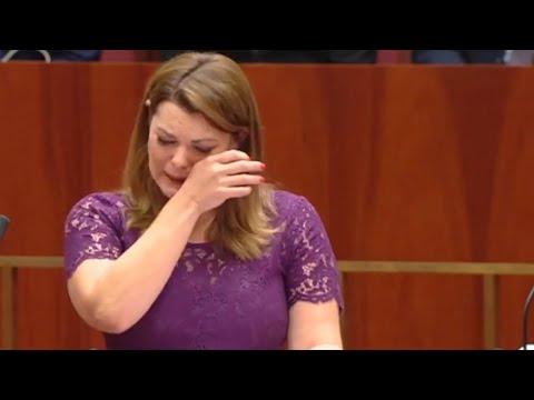 Australian senator Sarah Hanson-Young cries during same-sex marriage debate