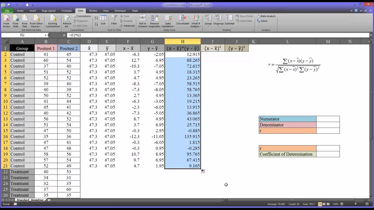 Calculating a Correlation Coefficient in Excel Step-by-Step and ...