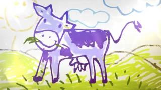 картошка фрии, помидоры на деревьях, фиолетовая корова на лугу