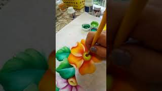 Pintando centros de Flor | Pintura en tela