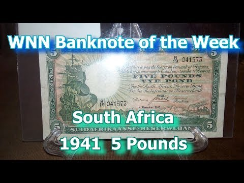 Banknote of the Week : South Africa 5 Pounds 1941, p86 b